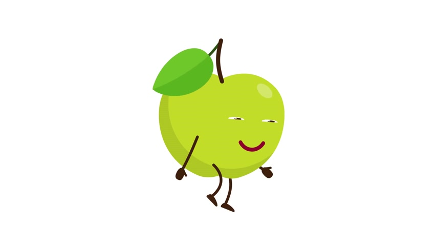 A green apple with a funny face is walking. Stock Footage