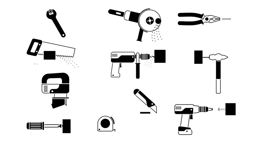 Working tools set - black-and-white icons pictogram