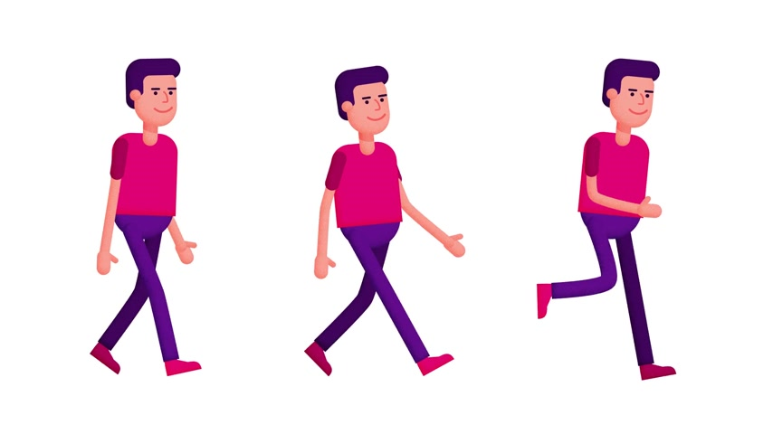 Cartoon man walking, running - looped animation Stock Footage