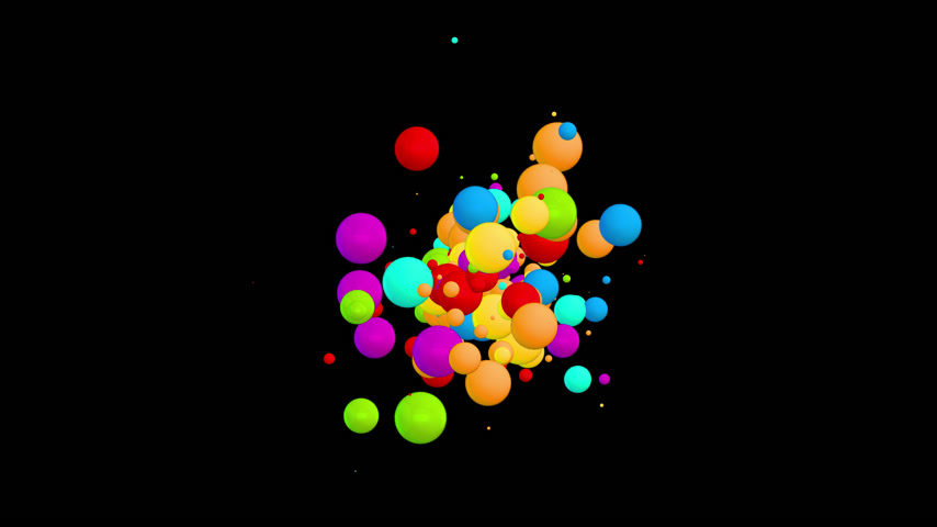 Chaotic movement of the multicolored balls particles