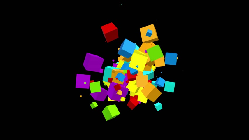 Chaotic movement of the multicolored cubes particles