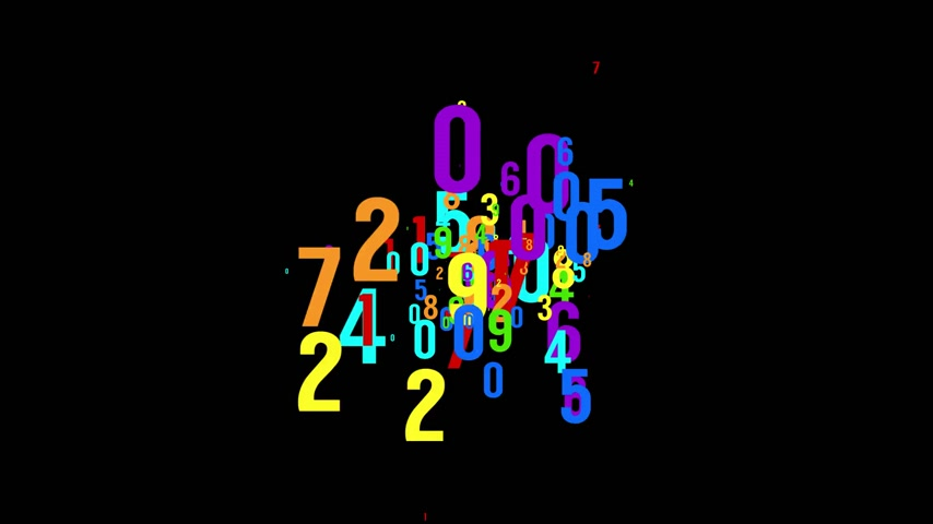 Chaotic colored numbers flow abstract background