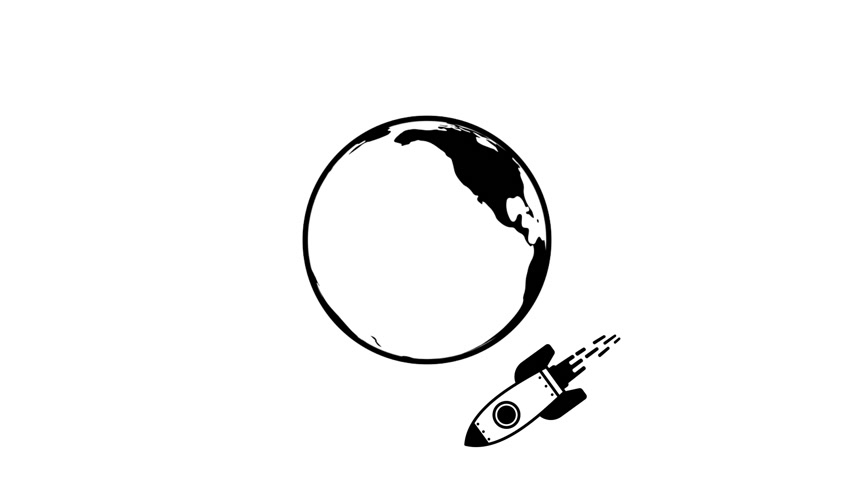 Rocket flying around earth - animated icon Vídeos