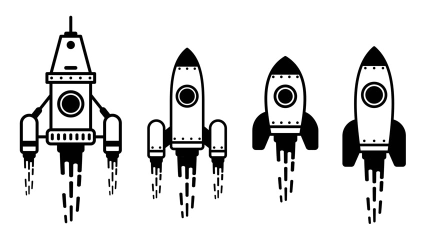 Flying rocket animated simple icon set