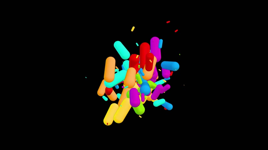 Chaotic multicolored pills pellets particles movement