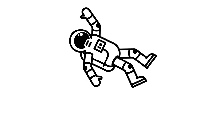Spaceman in spacesuit floating in outer space Stock Footage