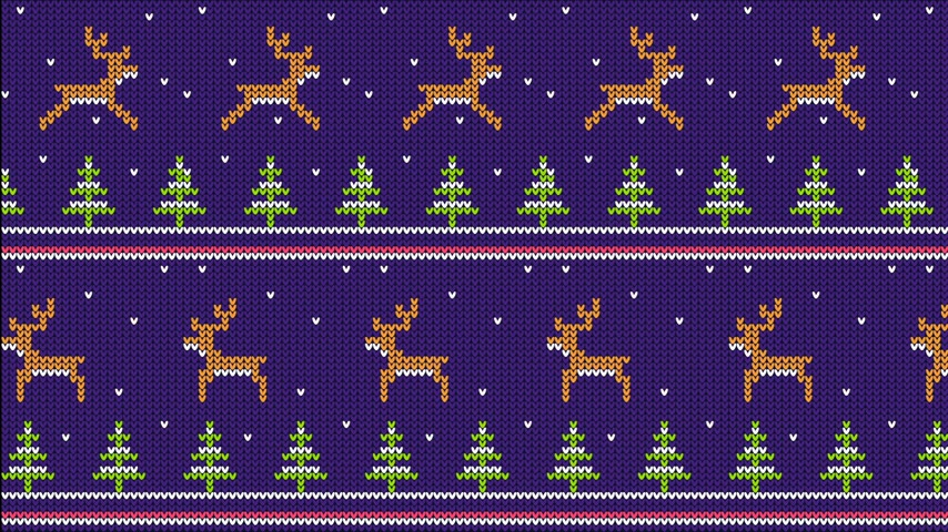 Knitted pattern for sweater with running deer and Christmas trees
