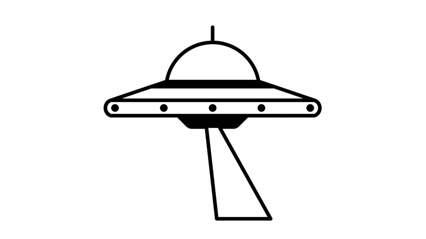 UFO flying saucer rotates and shines a beam Stock Footage