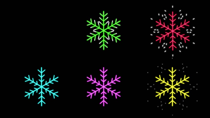 Neon snowflakes different colors Vídeos