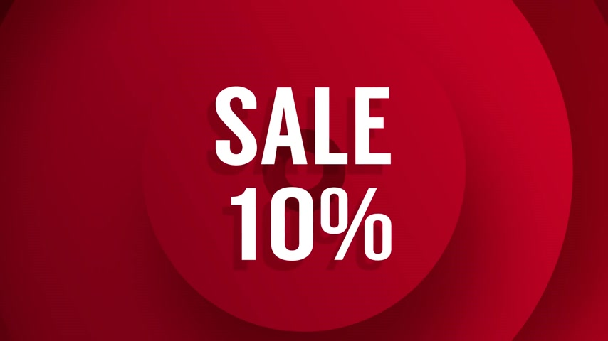 Sale with percentage discounts from 10 to 90 red background animation