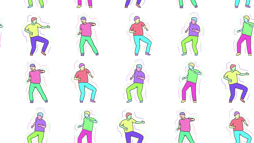 Pop art people dancing seamless looped pattern
