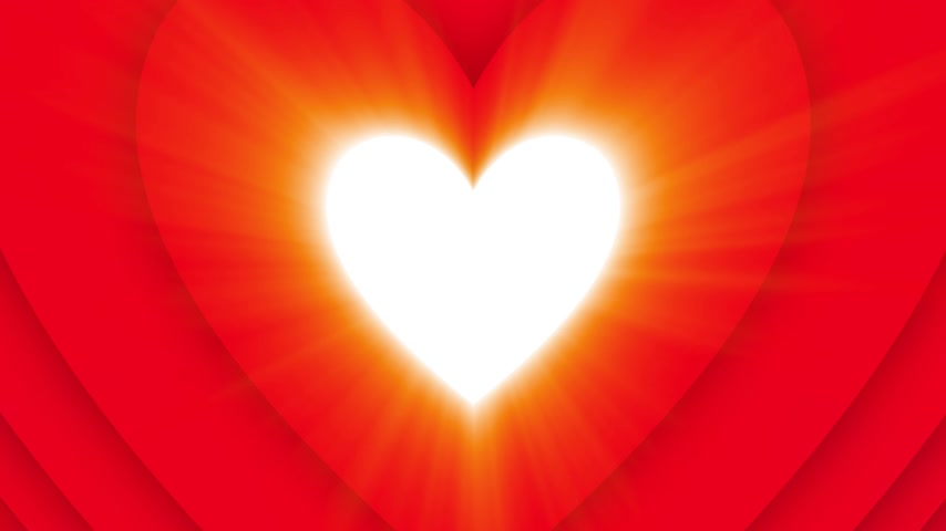 Blazing shining Valentines Day heart on red background Stock Footage
