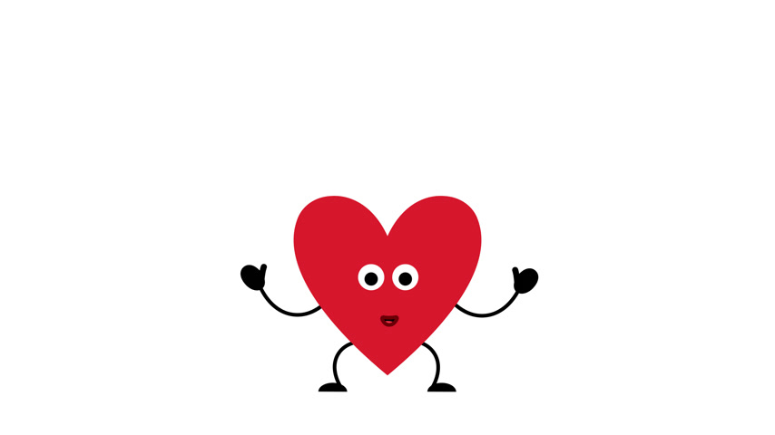Valentines day heart cartoon character joyfully jumps from happiness