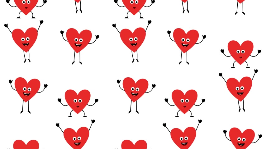 Valentine Love Heart characters - looped seamless background Vídeos