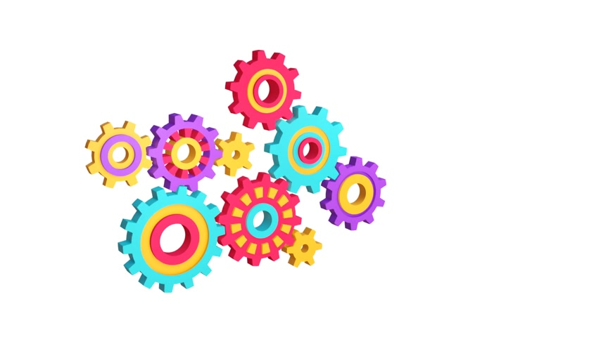 3D mechanism from different gears works
