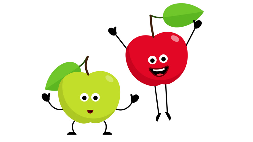 Red and Green apples cartoon characters jumps for joy