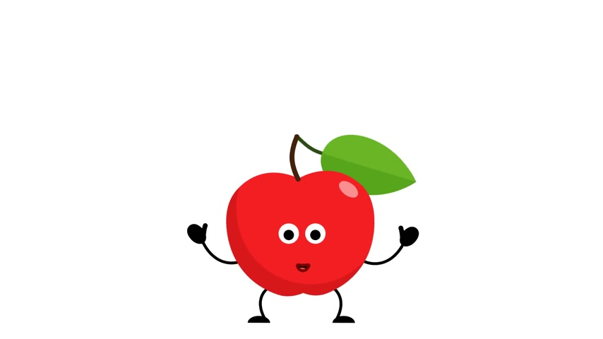 Red apple character happy jumps Stock Footage