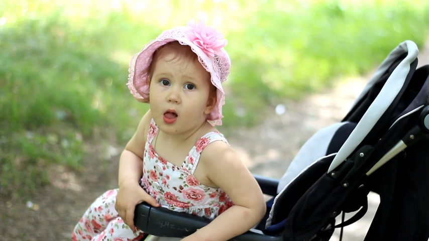 double happiness : caucasian Child, kid toddler , little baby girl smiling in stroller and