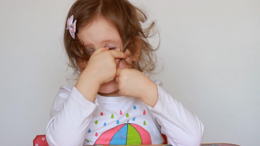 timidity : Portrait of a small shy girl. The embarrassment and confusion of the child. Concept introvert, bashful,embarrassed, sheepish, shy, shyness, timid, timidity. Stock Footage