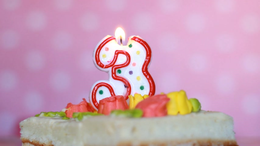 cakes : The figure is 3 years - the candle burns on cake in honor of the birthday