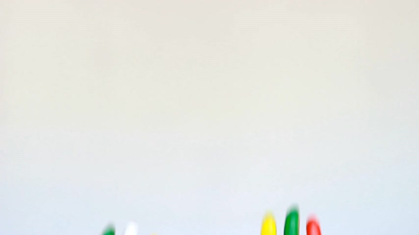 гуашь : Creative. Art and painting. Dirty hands painted multicolored with smiles. The concept of happiness, good mood, joy, creativity Стоковые видеозаписи