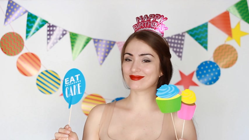 tatarak : Happy birthday. Young woman and decor for celebration - Eat Cupcake and cake. Wideo