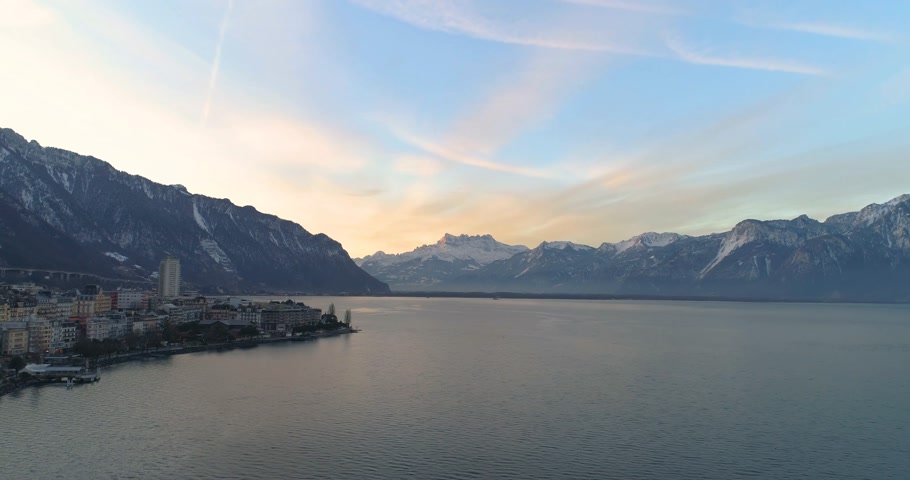 jazz festival : aerial view of montreux with lake of geneva and swiss alp in the background