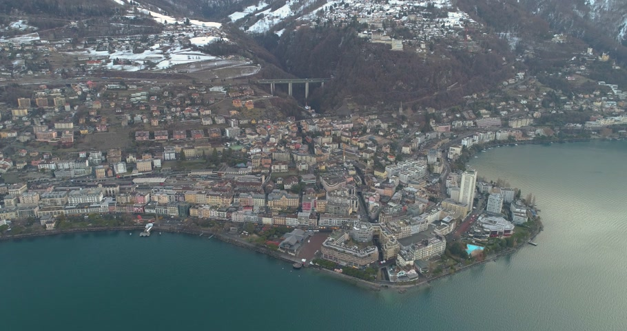 aerial view of montreux with lake of geneva and swiss alp in the background