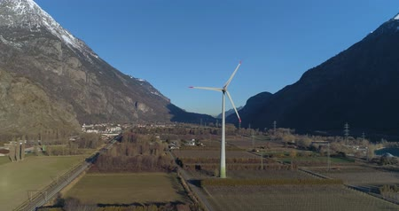 wind turbine in a montain valley
