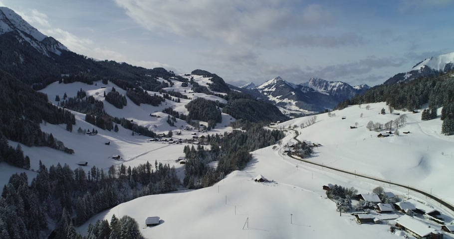 drone view of rougement and gstaad