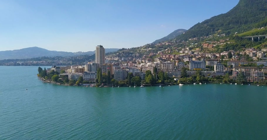 drone view of montreux in summer