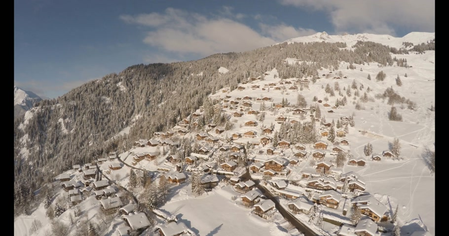 aerial view of verbier in winter Stock mozgókép