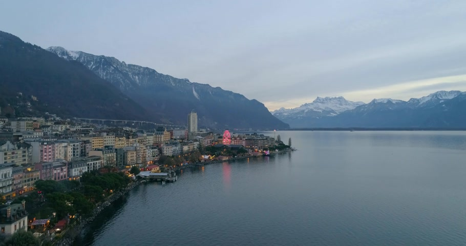 aerial view of montreux in winter