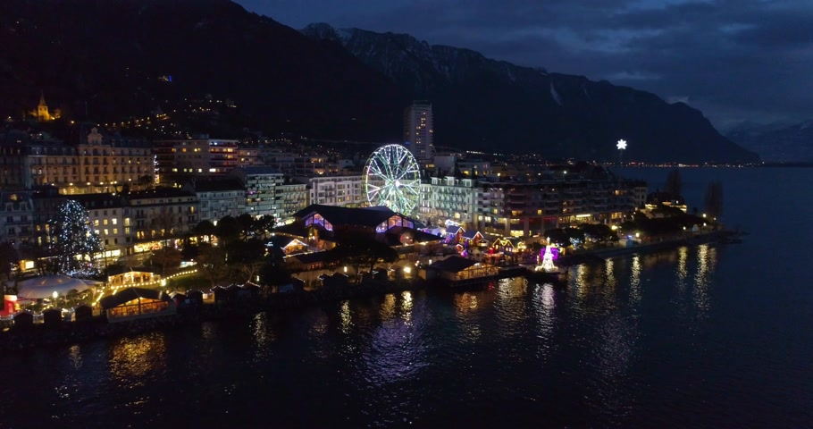 earial view of montreux in winter