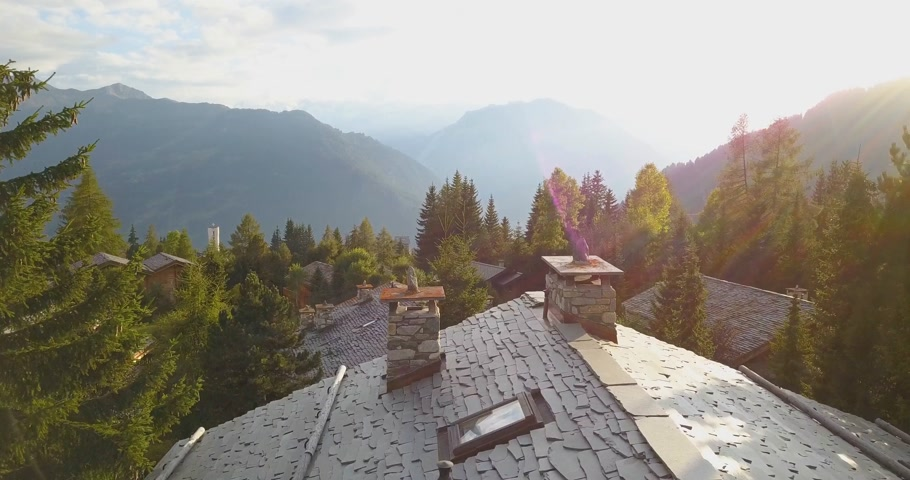 drone shot of verbier with sunset