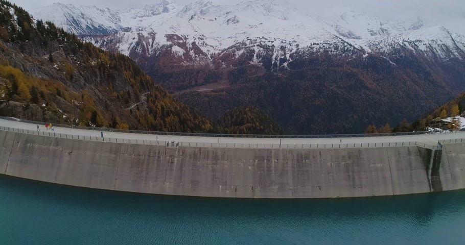 valais : aerial view of a dam Stock Footage