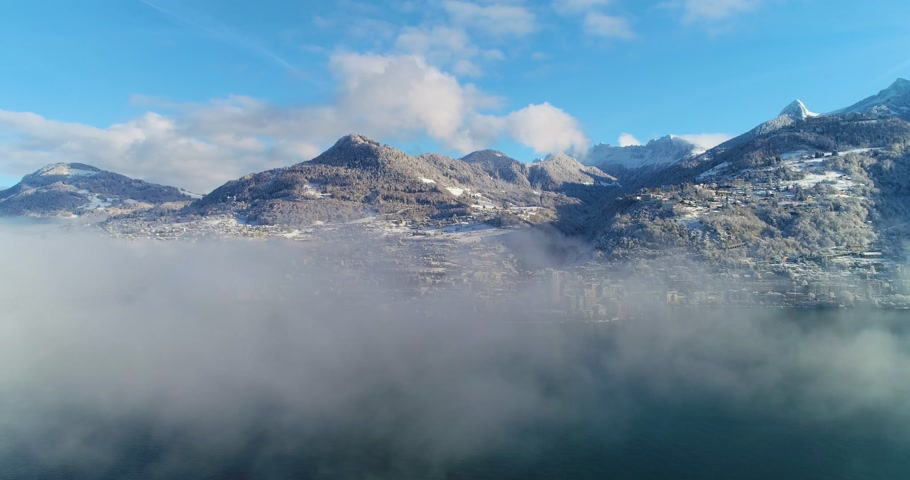 suisse : Fast flight over montreux in winter Stock Footage