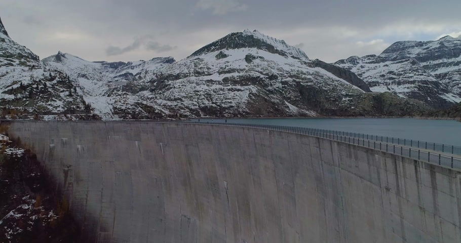 suisse : aerial view of a dam Stock Footage