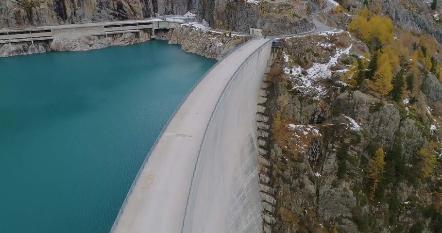 rock wall : aerial view of a dam Stock Footage
