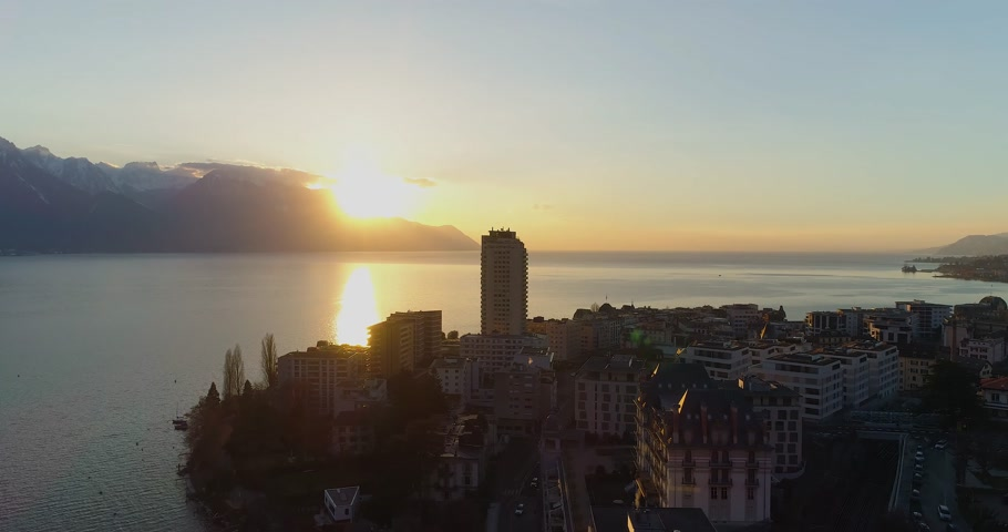 alpes : Montreux sunset drone winter