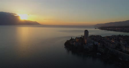 suisse : Montreux sunset Stock Footage