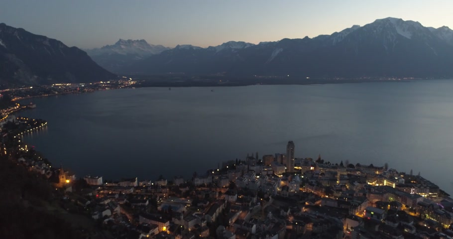 alpes : montreux night shot drone Stock Footage