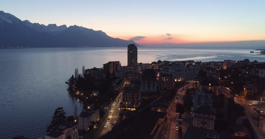 suisse : montreux night shot drone Stock Footage