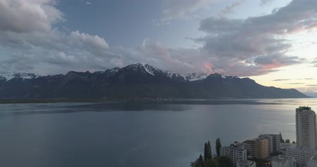 alpes : Incredible spring sunset in Montreux Stock Footage