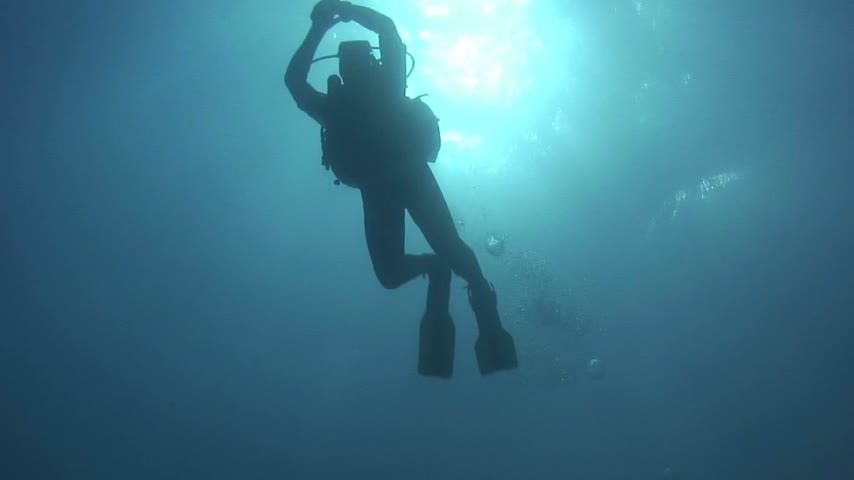 potápění : Scuba diver moves with slowly kicking fins through the blue water.