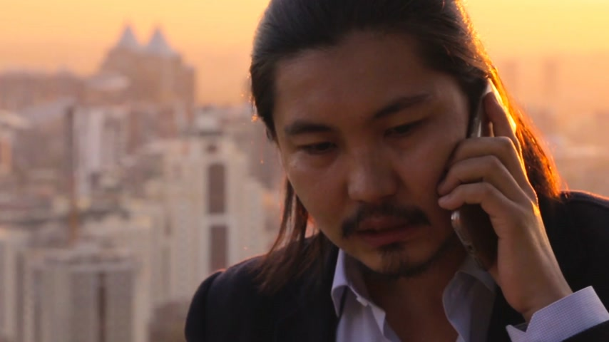 citylandscape : Rich businessman negotiating a deal over a phone against a marvelous city background