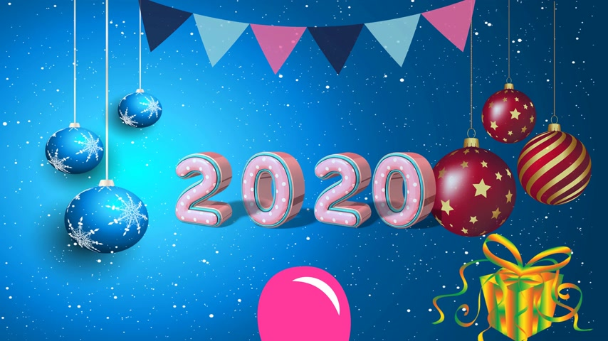 Новый год : Basic text animation about Happy new year 2020. animated video. Highest resolution . stop motion animated letter text