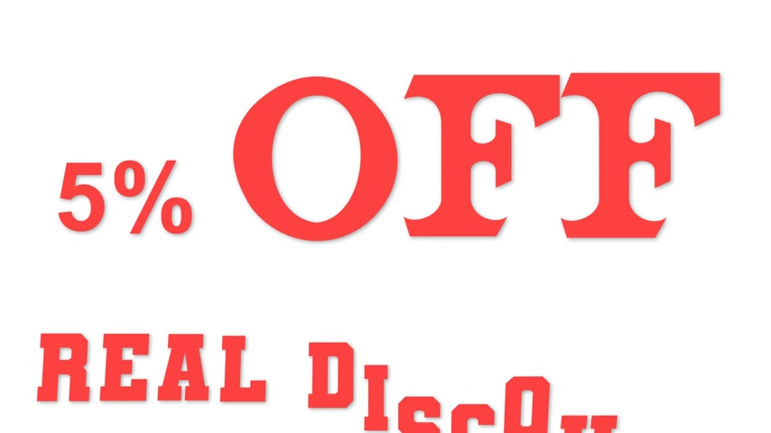 5% off real discount on white background. 動画素材