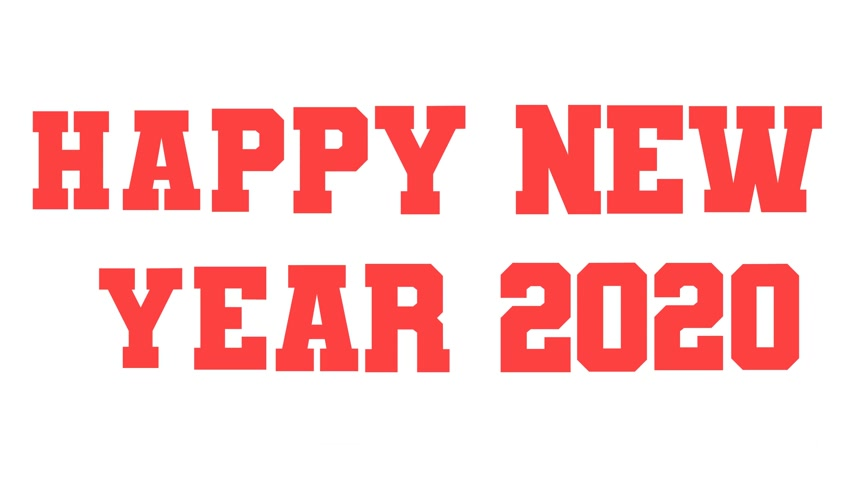 Basic text animation about Happy new year 2020. animated video. Highest resolution . stop motion animated letter text