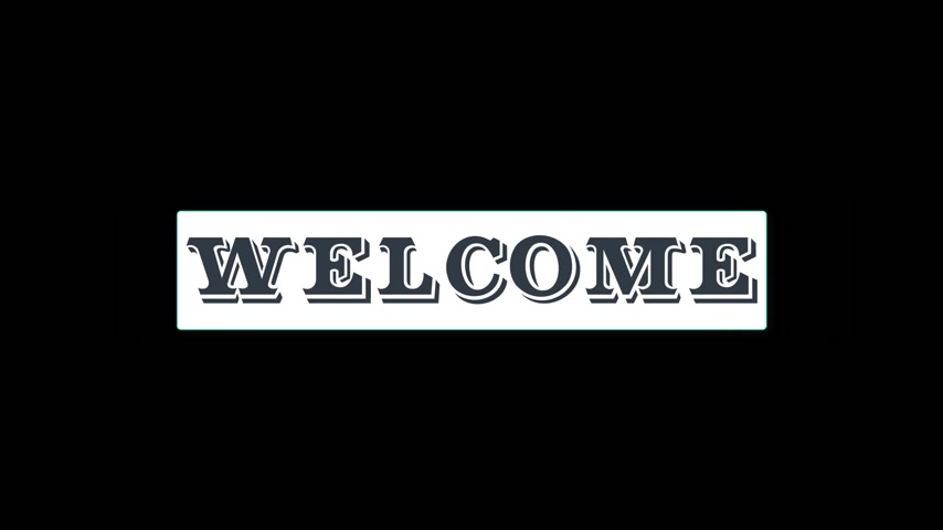 Welcome drop-down video banner with the word welcome on black background. Motion sticker video.
